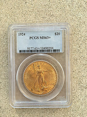 1924 $20 Dollar St. Gaudens Double Eagle Gold Coin PCGS MS 63+ Beautiful Coin!