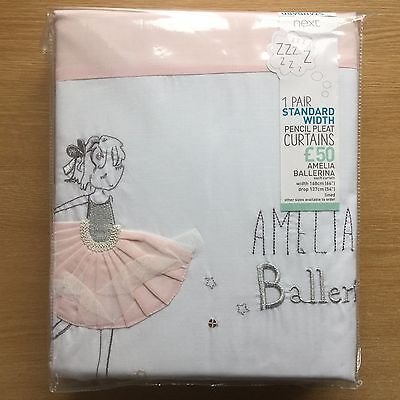 Next Girls Pink Amelia Ballerina Pencil Pleat Blackout Curtains