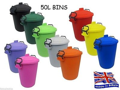 Coloured Dustbins - Red Yellow Orange Blue Pink Purple Green Lime Black - 50L