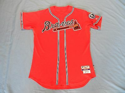 Chipper Jones 2011 Atlanta Braves game used jersey with Ernie Johnson patch