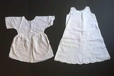 Pair of Antique Vintage White Lace Baby Dresses