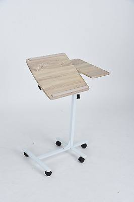Beech Finish White Frame Mobile Laptop Computer Stand with Adjustable Tilted Top