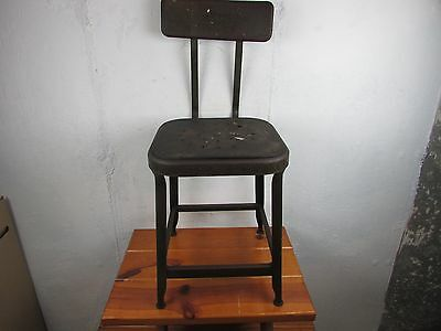 Vintage INDUSTRIAL STOOL  Metal Chair Seat Steampunk Industry Drafting Great