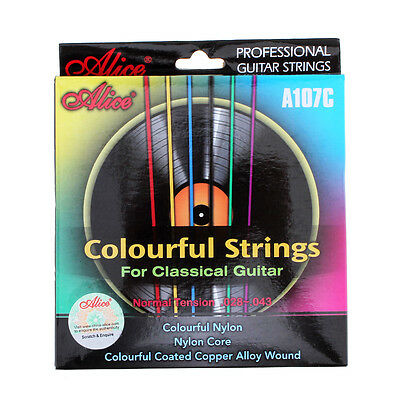 6PCS Colorful Classical Guitar Nylon Strings 028 to 043in Copper Alloy Wound