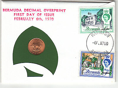 1970 Bermuda First Day Of Issue 99 Company 1 cent coin plus stamps