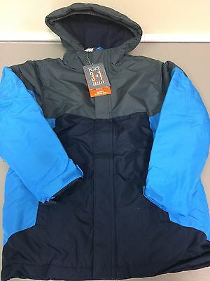 The Childrens Place 3 In 1 Hooded Coat & Jacket Size 10/12 Blue/Grey