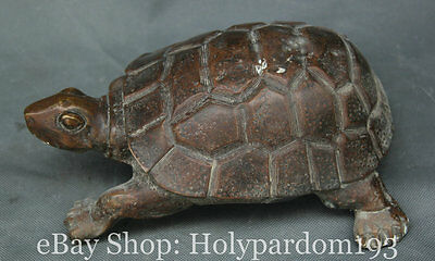 "10"" Chinese Copper Feng Shui Longevity Sea Turtle Tortoise Animal Sculpture"