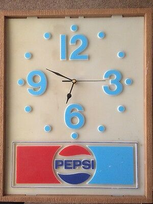 """vintage pepsi clock 15""""x18"""" *TESTED AND WORKING* Man cave Antique"""