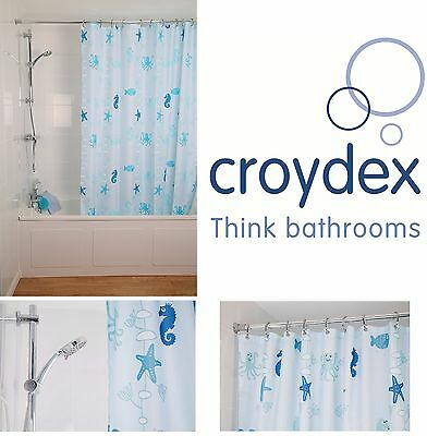 Croydex 100% Polyester Shower Curtain Waterproof Cling-Resistant Machine Washabl