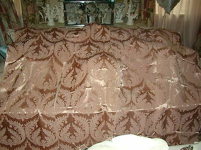 Pr. Stunning Hollywood Regency Antique Pink Acanthus Damask Curtains Drapes #1