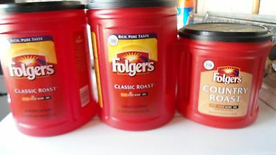3 Empty Plastic Folgers Coffee Cans  Containers Crafts Kitchen Storage 2016