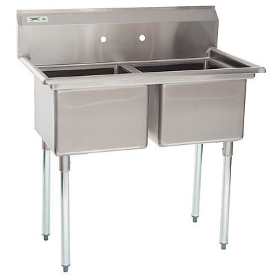 "41"" 2 Compartment Stainless Steel Commercial Sink without Drainboards NSF"