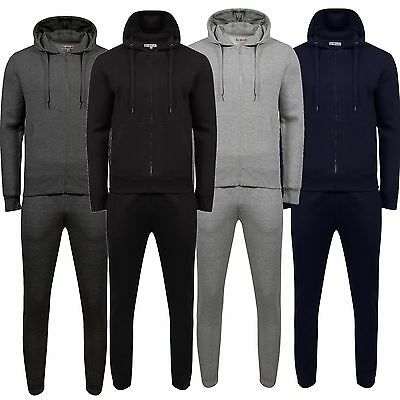Mens Tracksuit Set Fleece Hoodie Top & Bottoms Joggers Gym Plain Zip Pockets New