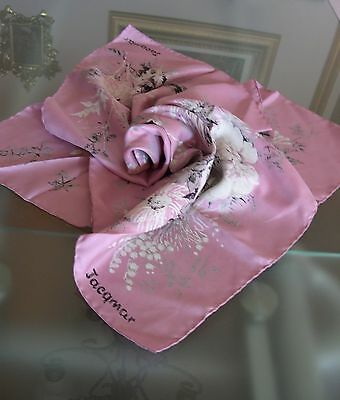 "BEAUTIFUL JACQMAR 100% SILK HAND-ROLLED SQUARE FLORAL SCARF; 29"" x 29"""