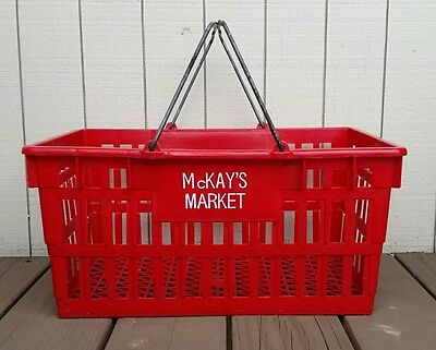 Vintage Grocery Store Basket McKay's Market On Side Metal Handle Red Hand Cart