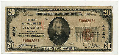 1929 $20 Banknote Type 1 The First National Bank of Tekamah, NE Ch #4324
