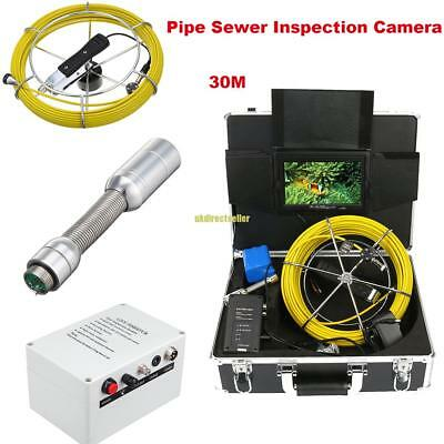 """7"""" LCD 30M Sewer Camera Pipe Pipeline Drain Video Inspection Snake Cam System"""