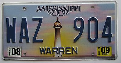 Mississippi 2009 WARREN COUNTY LIGHTHOUSE License Plate NICE QUALITY # WAZ 904
