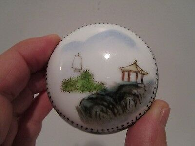 Chinese Ceramic Hand Painted Rouge Box With Rouge