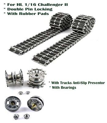 Heng Long Challenger  Leopard 2A6 metal tracks with pads and 2-pin locking UK