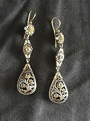 AUTHENTIC Konstantino Classic Drop Earrings with Blue Stone