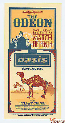 Oasis Velvet Crush Handbill 1995 Mar 15 The Odeon Cleveland Mark Arminski