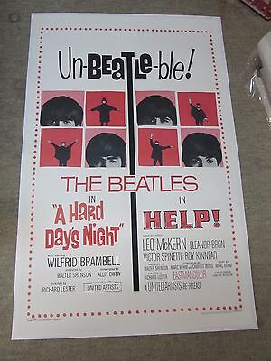 A HARD DAY'S NIGHT/HELP combo - Beatles -  original film / movie poster
