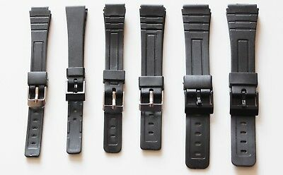 14mm 18mm or 20mm BLACK RESIN Replacement Watch Strap Band for Casio with 3 pins