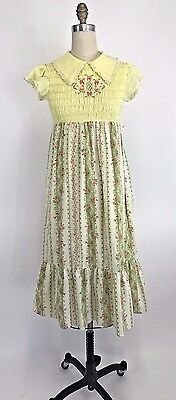 70s Vintage Babydoll Hippie Boho Maxi Embroidered Smocked Dress Empire Waist - S