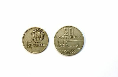 1967 USSR RUSSIA 2 COLD WAR COIN SET 15 20 KOPEKS to 50th YEARS of REVOLUTION