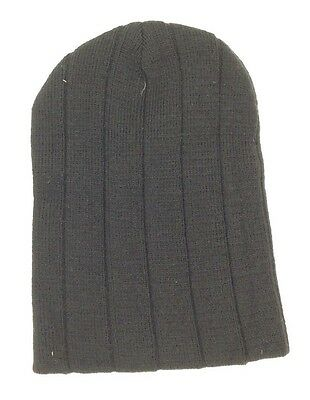 105 BLOOMINGDALE S Mens UNISEX BLACK KNIT WARM WINTER HAT CAP BEANIE ONE  SIZE 9436d5f52be