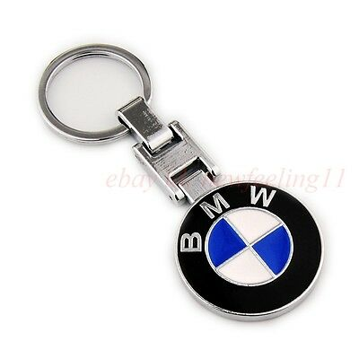 BMW Metal Key Chain Car Double Side Logo Pendant Keyfob Silver Holder Key Ring