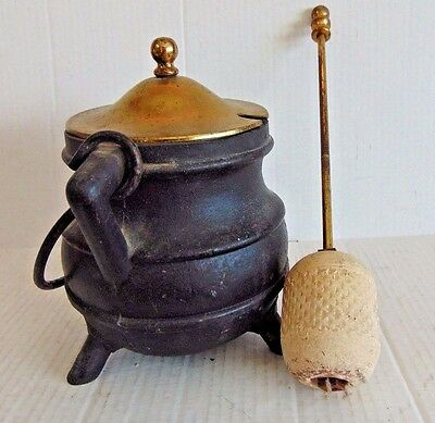VINTAGE CAST IRON FIRE STARTER SMUDGE POT With PUMICE WAND & BRASS LID