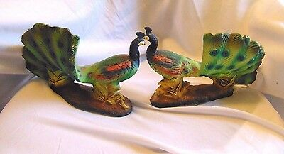 Vintage Set Peacock Birds Collectible Figurines Original Artmark From Japan