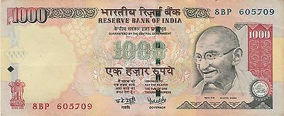 Indian Rupee 1000 old banknotes year 2007