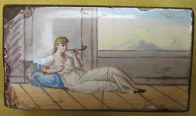 Antique 19C Enameled Match Box W/Maiden Smoking, Chinese Export?