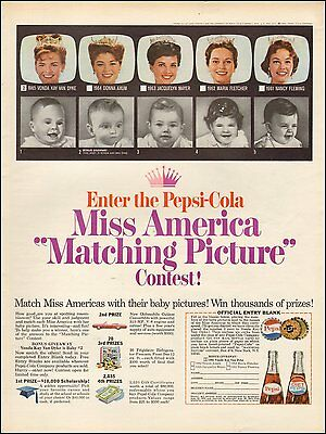 """1965 Vintage ad for Pepsi Cola` Miss America """"Matching Picture Contest (031716)"""