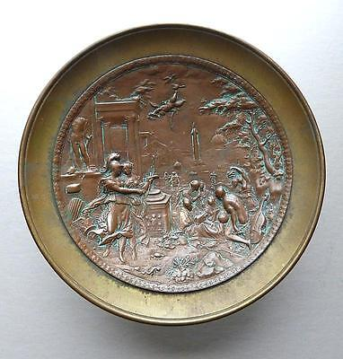 Bronze Tazza With Copper Medallion Of Hans Jakob Bayr Relief