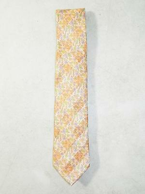 Michelsons Men's Classic Floral Dress Tie 100% Silk Orange NWT MSRP $55.00
