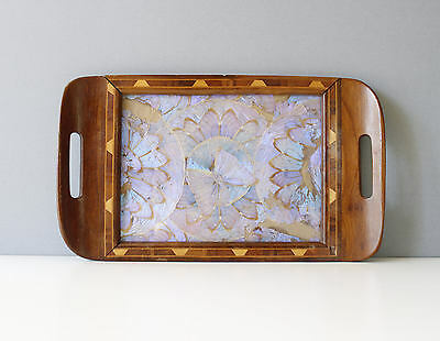 Vintage Brazilian Wood & Glass Butterfly Tray Iridescent Handmade