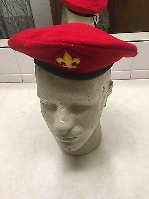 Vintage Official Boy Scout Red Wool Beret - Size 6 3/8-6 3/4