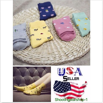 New Lot of 5 pairs Fashion  women's Cute  Ankle Cotton Soft Socks