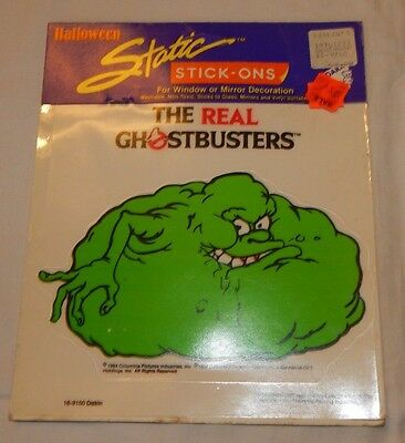 1986 The Real Ghostbusters Static Stick Ons Decal MINT ON CARD UNUSED