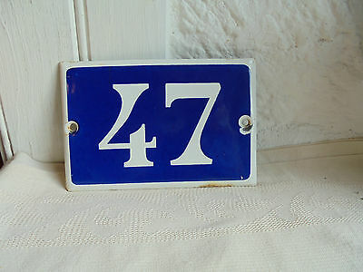 French blue & white house gate number 47 awesome plate porcelain enamel solid