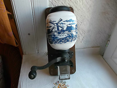 Blue & White vintage wall mount coffee grinder, glass coffee holder - windmill