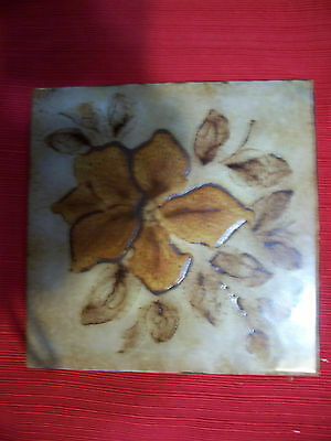 "Brown Flower Trivet Art Pottery ceramic  6"" Tile Great Shape Vintage"