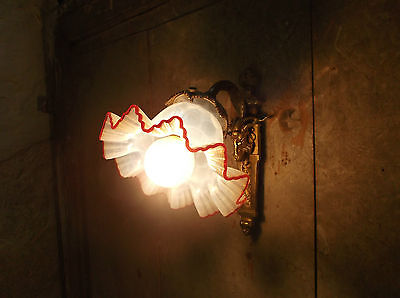 French antique gorgeous bronze wall light  glass shade red trim ruffled edge