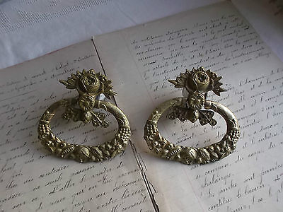 French antique a pair of ornate bronze cabinet door pull handles nicely pattern