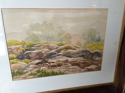 """Beautiful """"G. Cook"""" Artist Signed Framed Watercolor Landscape Scene Painting"""