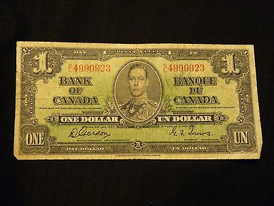 Bank Of Canada 1937 One Dollar Bill
